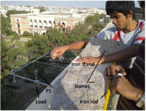 Figure 1 Murali setting up the First Order Pulley System with 5 pulleys from the terrace of 5 storey building